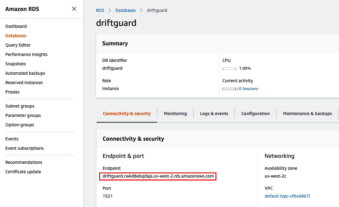 RDS Summary Screen Screenshot