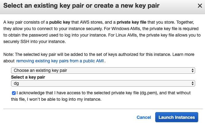 Key Pair Selection Screenshot