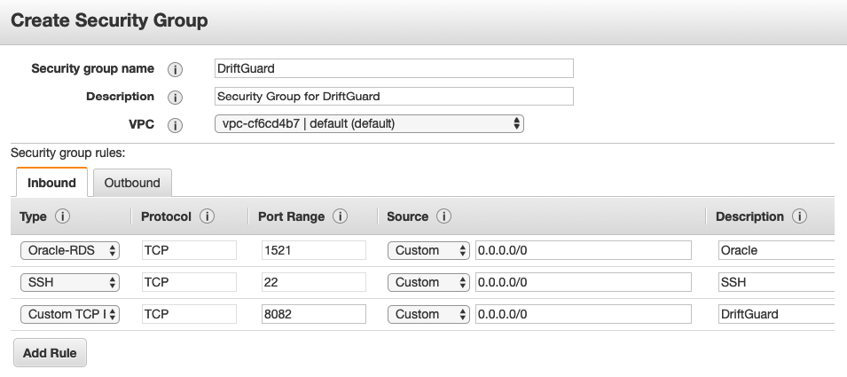 Create Security Group Screenshot