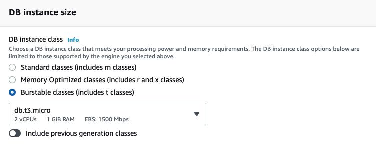 DB Instance Size Screenshot